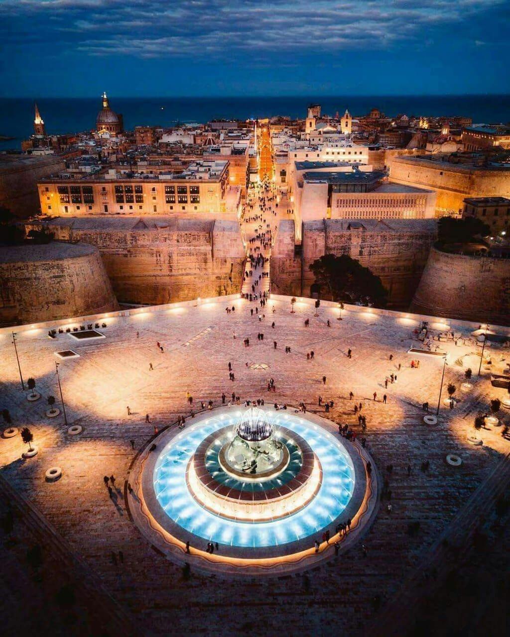 Aerial View of Triton Fountain and Valletta