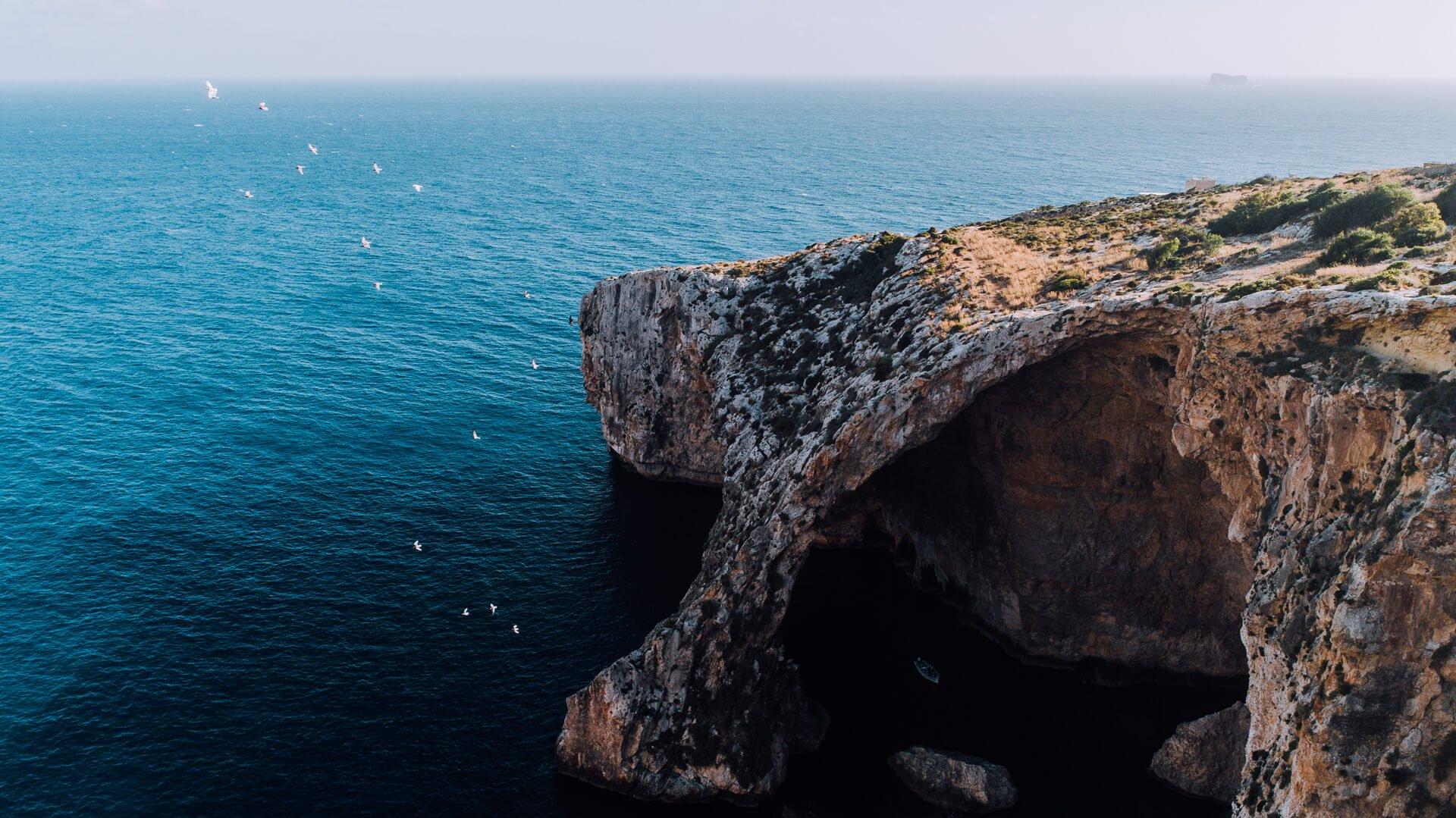 Aerial of Blue Grotto, Malta