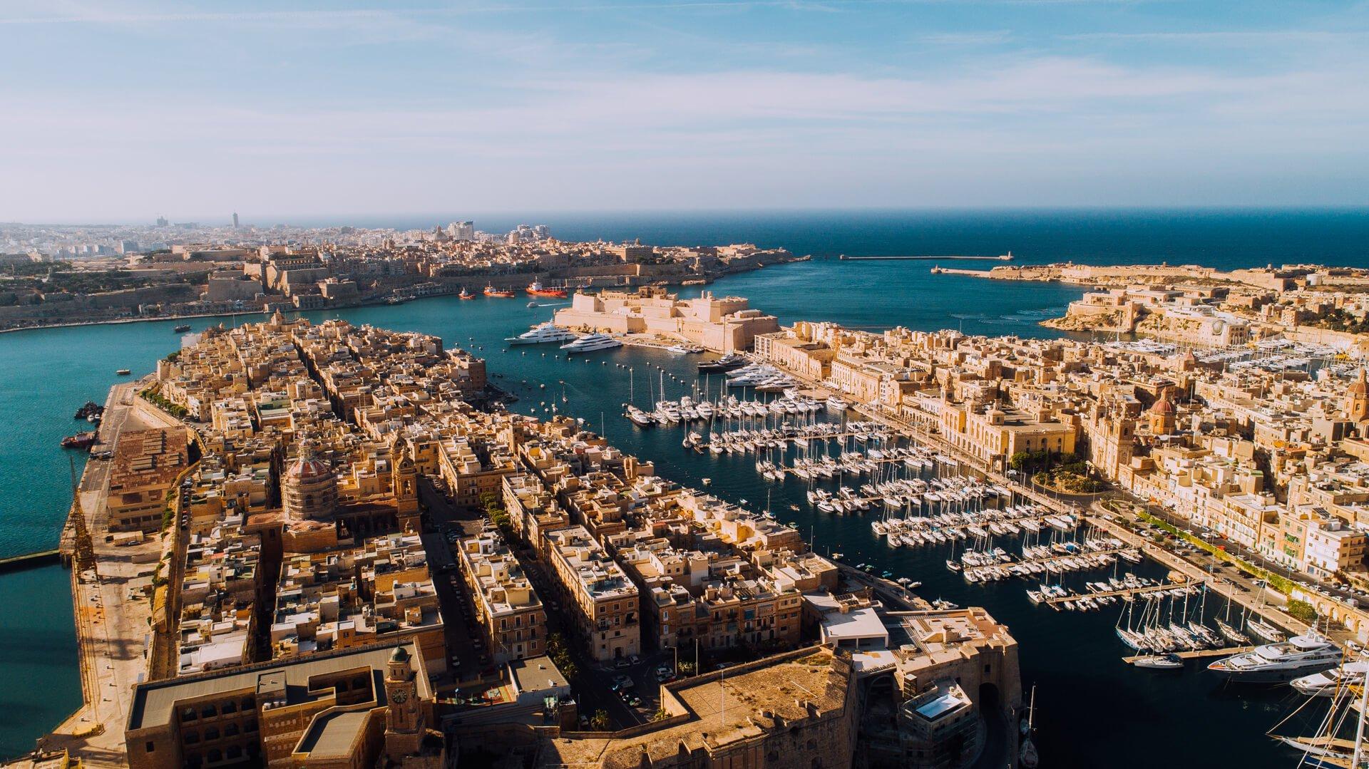 Aerial View of Three Cities, Malta