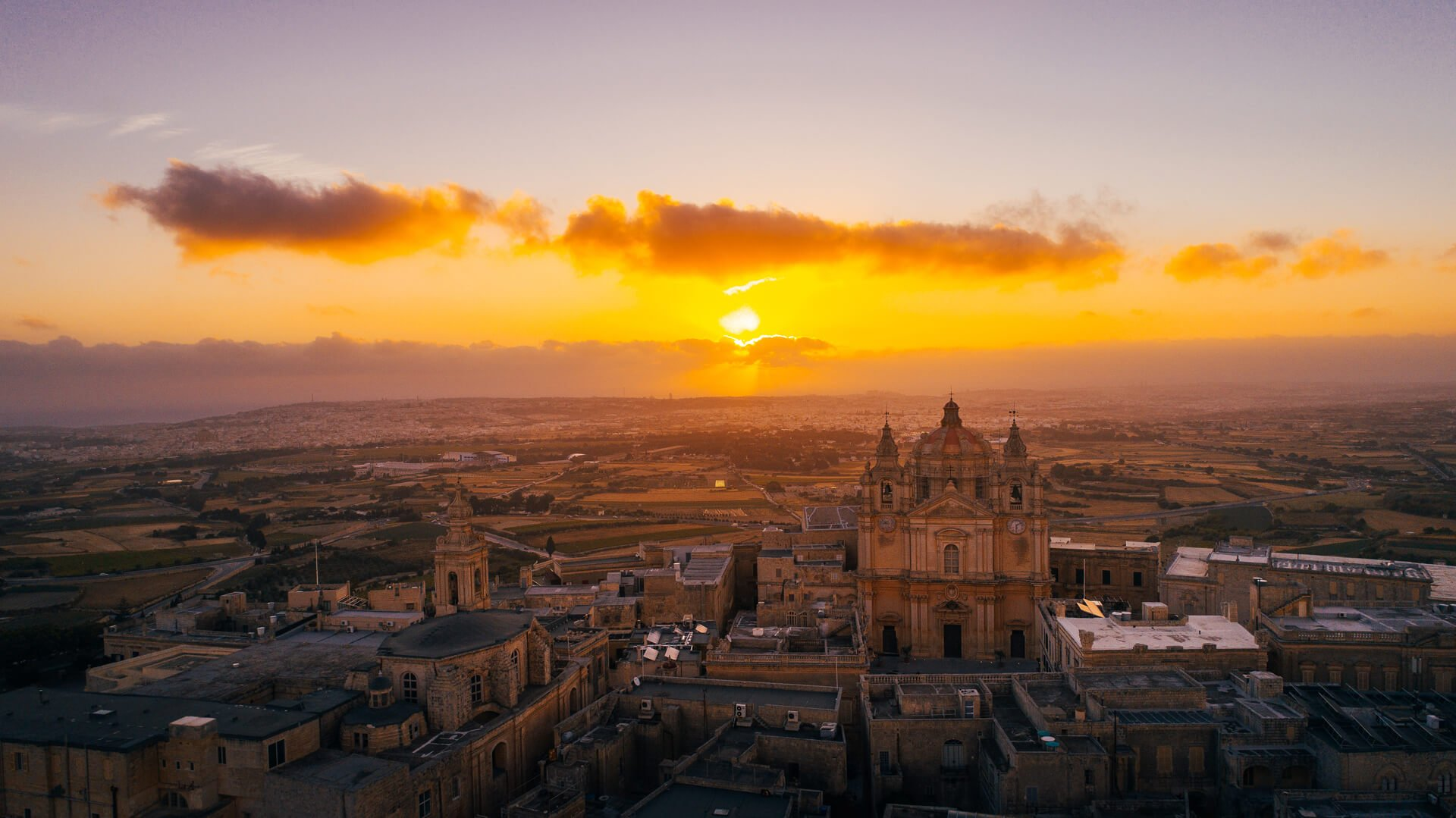 Aerial view of Mdina at sunrise