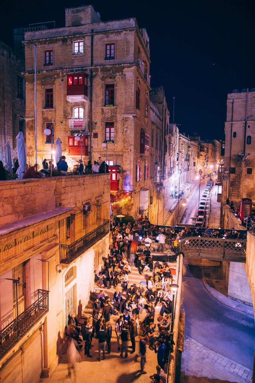 Bridge Bar, Valletta at night