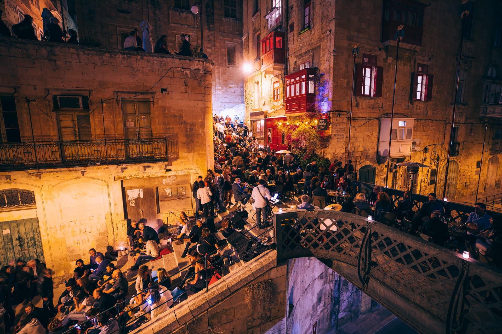 Close-up of Bridge Bar, Valletta at night