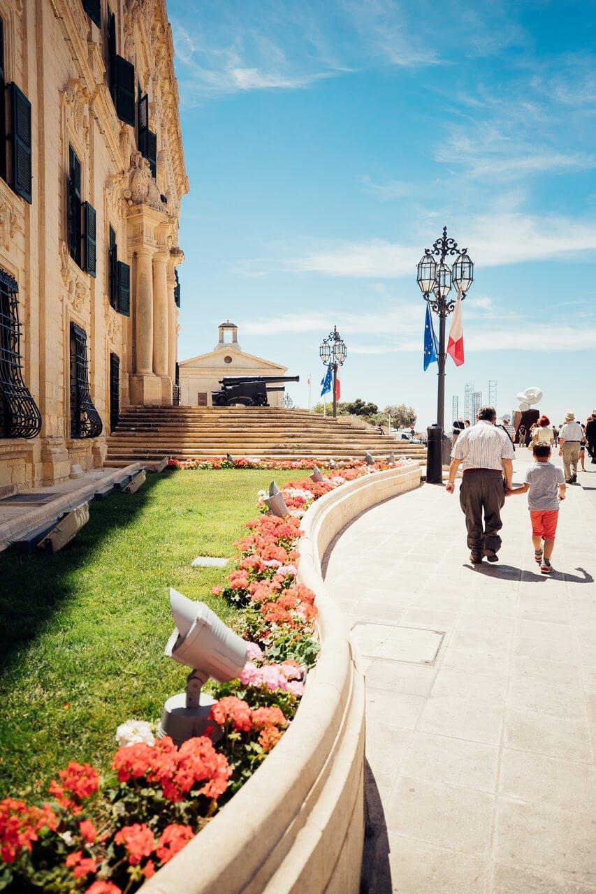 Family outside Prime Minister's Office,Valletta