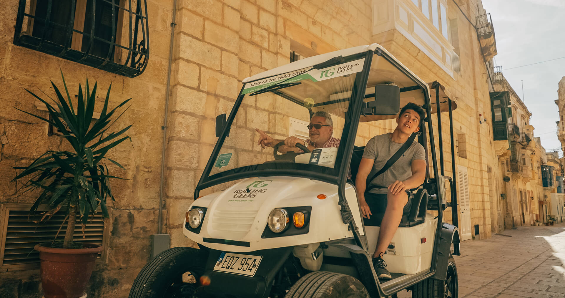 Father and son on Rolling Geek in Gozo