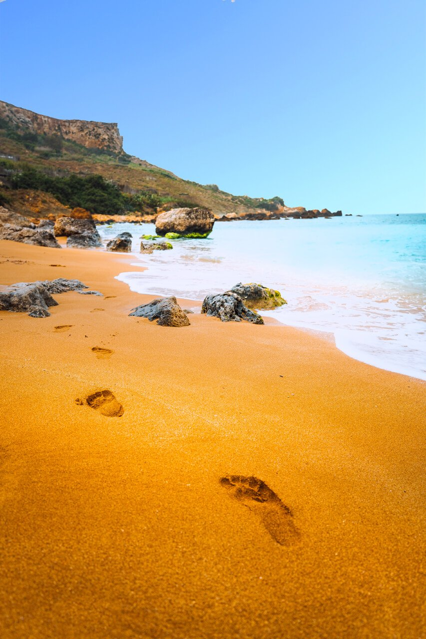 Footsteps on Ramla Bay, Gozo