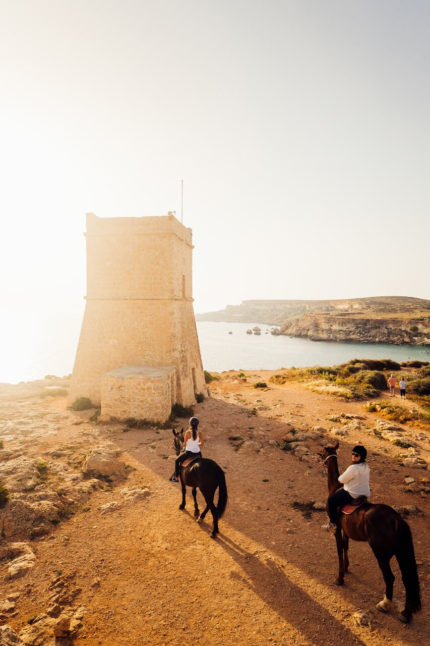 Horse-riding by Gnejna Tower, Malta
