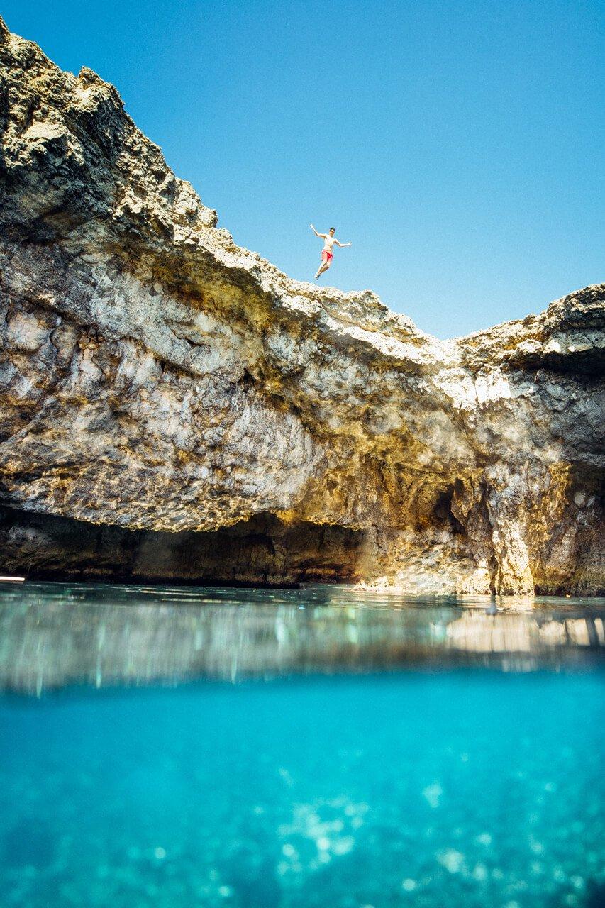 Jumping into Coral Lagoon Malta