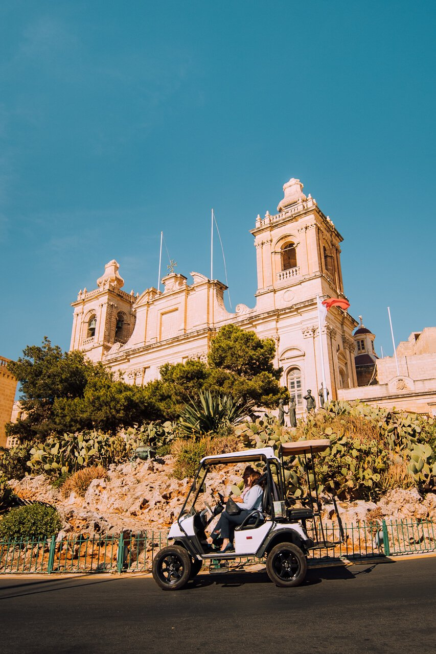 Segway in front of St Lawrence in Vittoriosa Malta