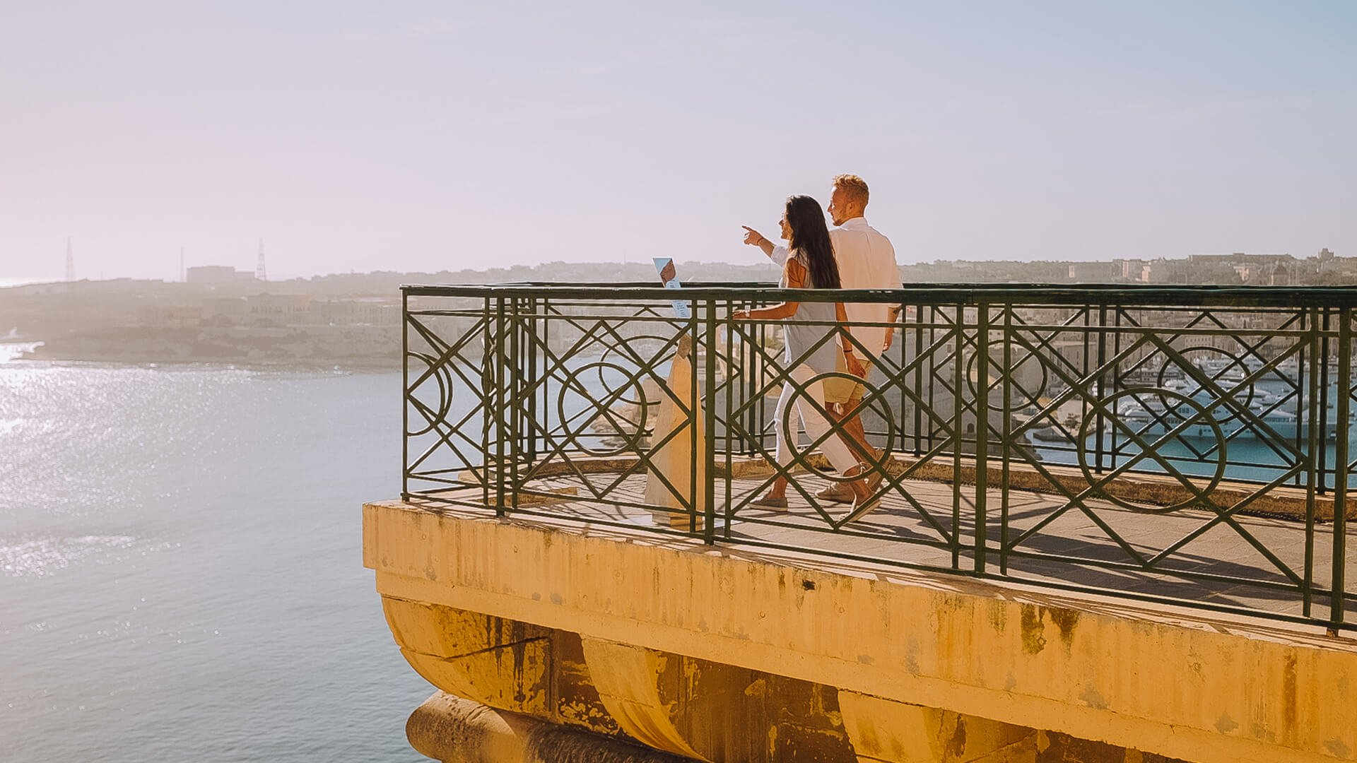 Young couple overlooking Valletta