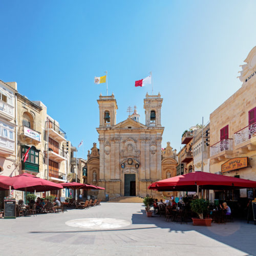 St George's Square in Gozo's capital Victoria